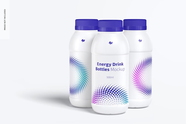 Energy drink plastikflaschen set mockup