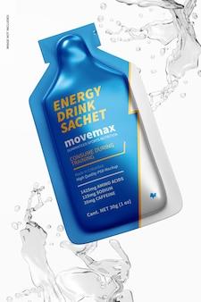 Energy drink sachet mockup, schwimmend