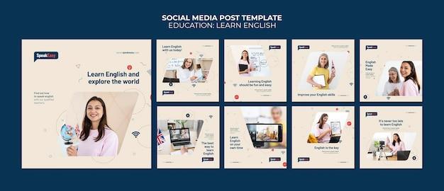 Englisch lernen social-media-post-vorlage