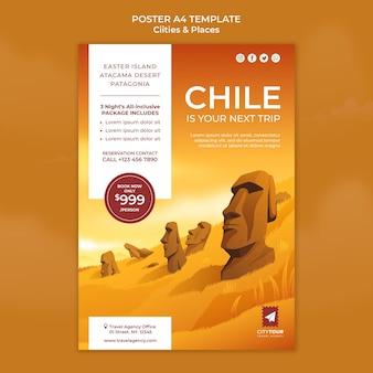 Entdecken sie die poster-vorlage für chile