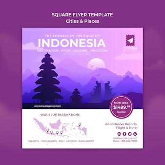 Entdecken sie die quadratische flyer-vorlage für indonesien