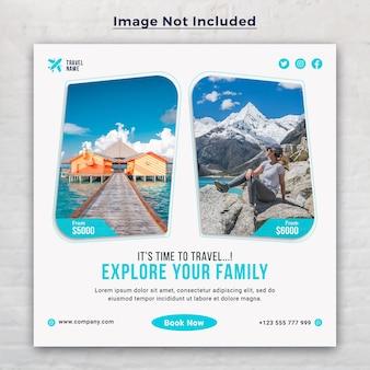 Entdecken sie die social media instagram-post-banner-vorlage für reisen im urlaub