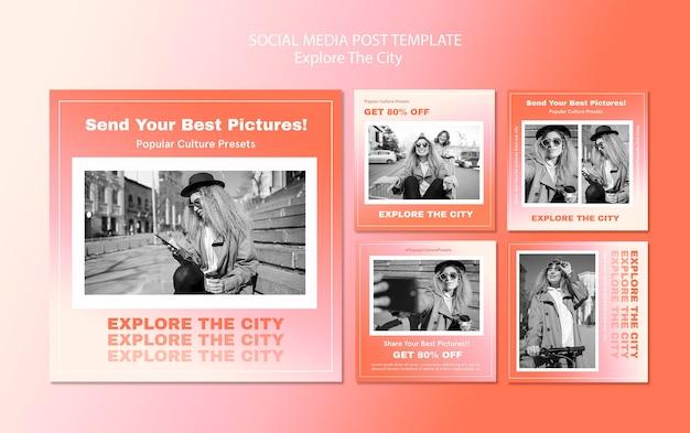 Entdecken sie die stadt instagram post vorlage