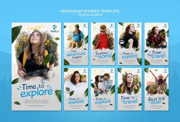 Entdecken sie die vorlage für concept instagram stories