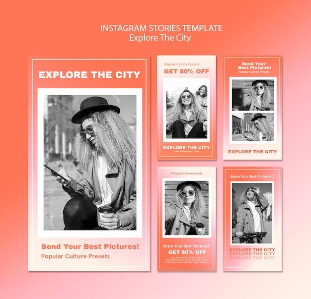 Entdecken sie die vorlage für stadt-instagram-geschichten