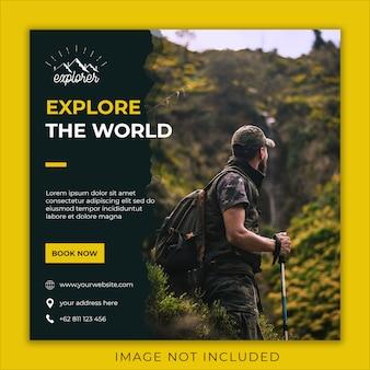 Entdecken sie die world social media-banner-vorlage