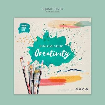Entdecken sie ihre kreativität quadratische flyer vorlage