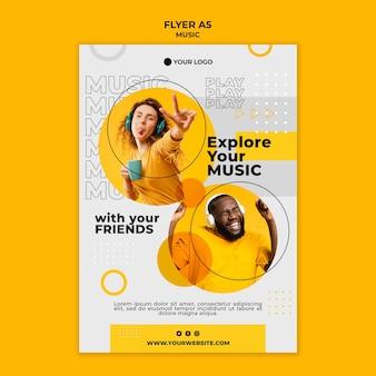 Entdecken sie ihre musik mit der flyer-vorlage eines freundes