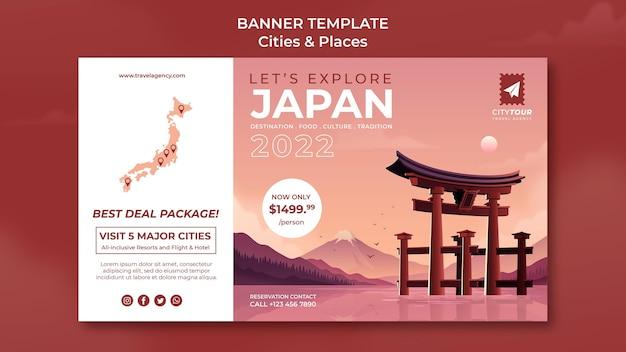 Entdecken sie japan banner vorlage