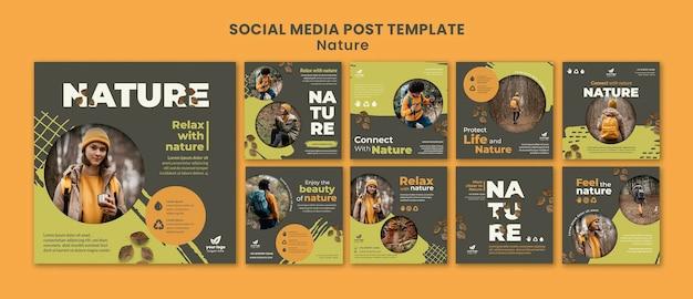 Entspannen sie sich mit einem social-media-post in der natur