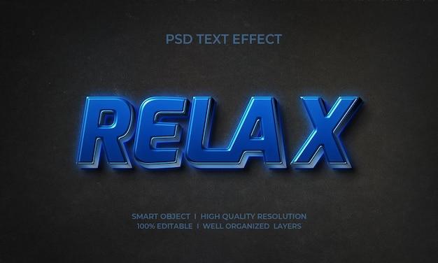 Entspannen sie sich neon-texteffektvorlage im 3d-stil
