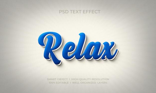 Entspannen sie sich texteffektvorlage im 3d-stil