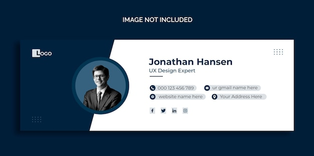 Entwurf einer e-mail-signaturvorlage oder vorlage für ein persönliches social-media-cover