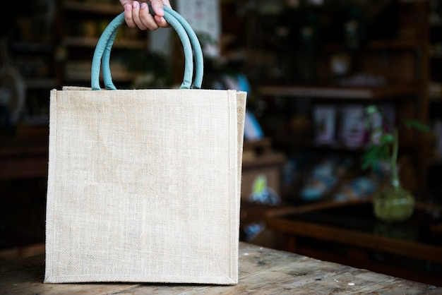 Entwurfsraum auf leerer einkaufstasche