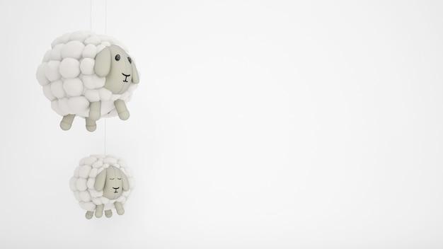 Entzückende kinderspielzeug-wollschafe mit weißem copyspace
