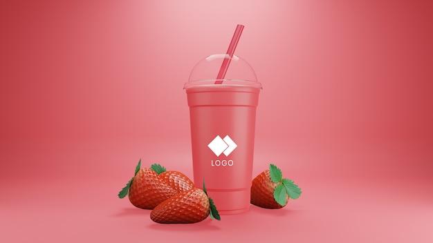 Erdbeer-smoothie-modell isoliert mit früchten