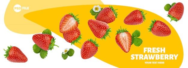Erdbeere getrennt auf weißer fahne