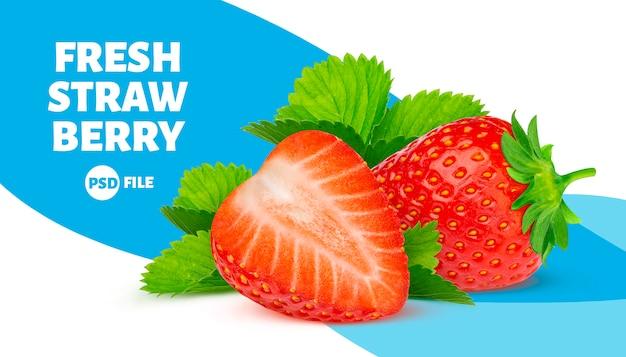 Erdbeeren mit blattfahne