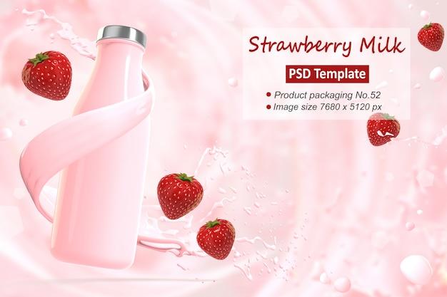 Erdbeermilch-hintergrundschablone 3d übertragen