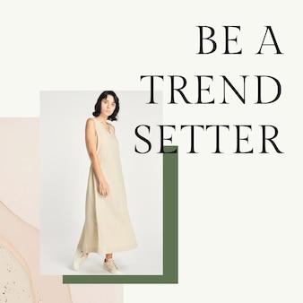 Erdfarbene modevorlage für frauen als psd für social-media-beiträge