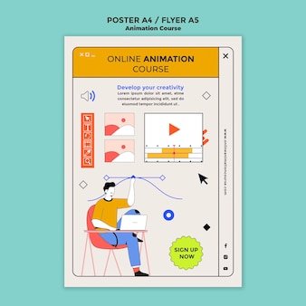 Erfahren sie die vorlage für animationsflyer