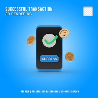 Erfolgreiche transaktion 3d-symbol