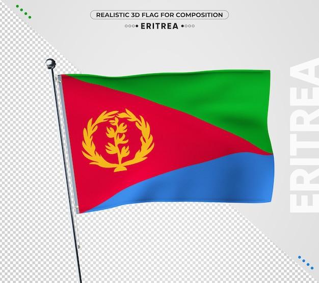 Eritrea flagge mit realistischer textur