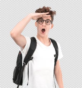 Erstaunter junger student mit einer geste von beobachten