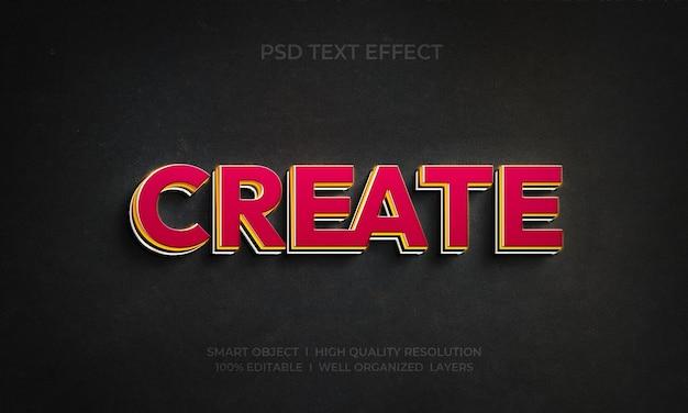 Erstellen sie eine bearbeitbare neon-3d-texteffektvorlage