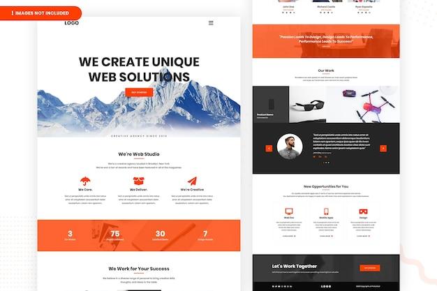Erstellen sie eine landing page für einzigartige weblösungen