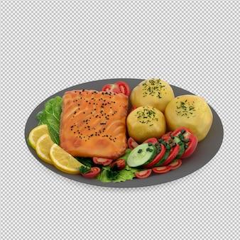 Essen auf platte 3d render