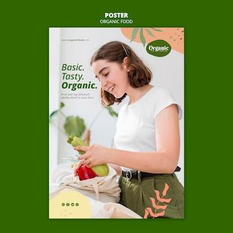 Essen sie organische und gesunde gemüseplakatschablone