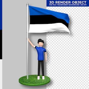 Estland-flagge mit niedlichen menschen-cartoon-figur. tag der unabhängigkeit. 3d-rendering.