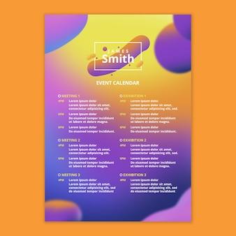 Event kalendervorlage mit fließendem hintergrund