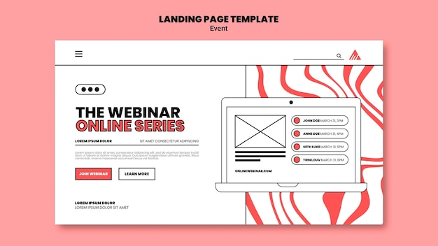 Event online webinar landing page