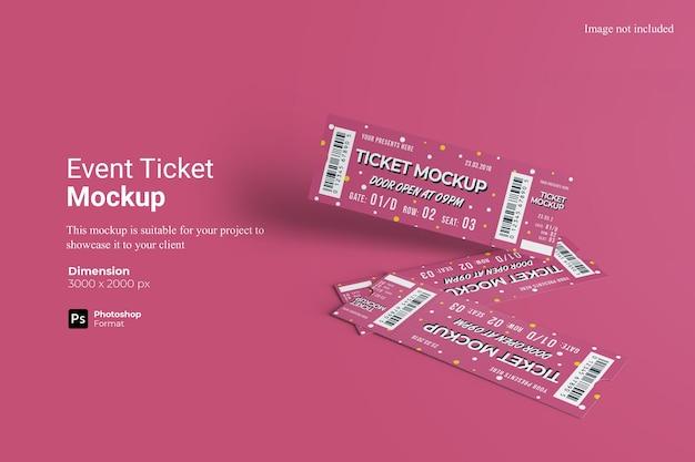 Event ticket mockup 3d rendering isoliert