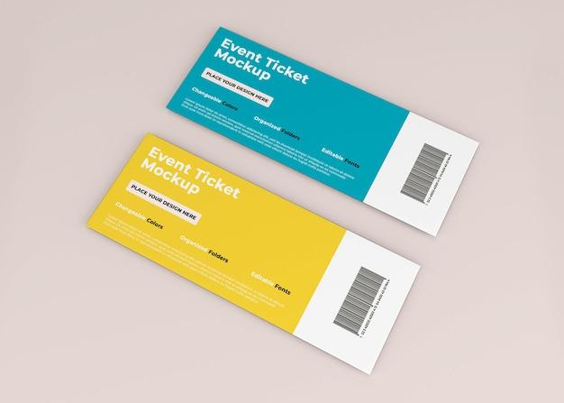 Event-ticket-mockup-design in 3d-rendering isoliert