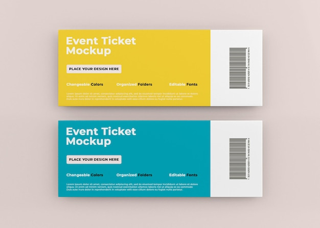 Event-ticket-mockup-design isoliert