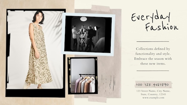 Everyday fashion collage vorlage psd vintage foto film blog banner