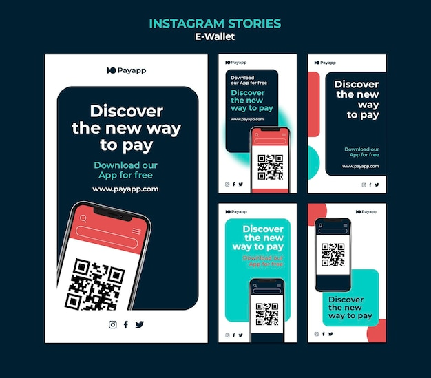 Ewallet instagram stories designvorlage Kostenlosen PSD