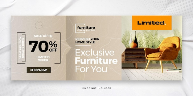 Exklusive horizontale banner- oder facebook-cover-vorlage für möbel