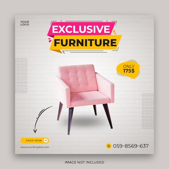 Exklusiver möbelverkauf social media post template design premium psd