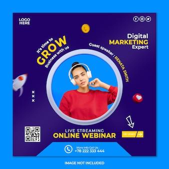 Experte für digitales marketing und vorlage für social-media-beiträge