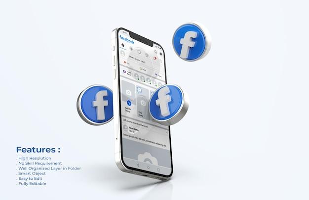 Facebook auf handy mockup mit 3d-symbolen