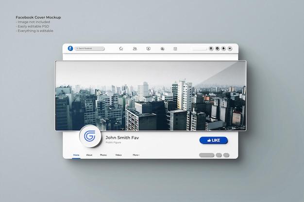 Facebook-cover-fotomodell 3d-gerenderte schnittstelle