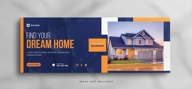 Facebook-cover oder web-banner-vorlage für immobilienhäuser mit sauberem mockup