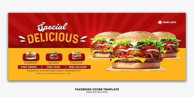 Facebook cover post banner vorlage für restaurant fast food menü burger
