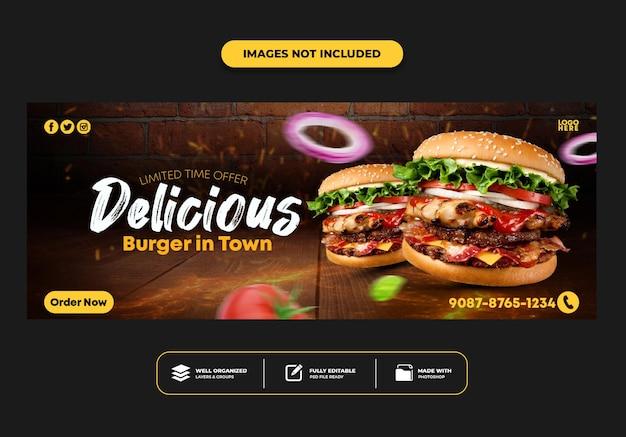 Facebook-cover-post-banner-vorlage für restaurant-fast-food-menü-burger