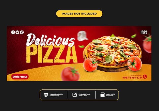 Facebook-cover-post-banner-vorlage für restaurant-fast-food-menü pizza