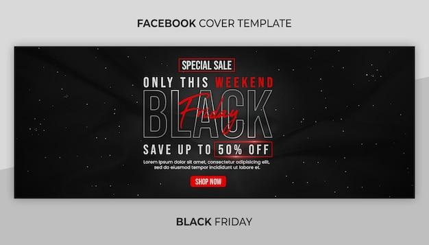 Facebook-cover und web-banner-vorlage für den schwarzen freitag